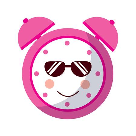 cartoon clock alarm sunglasses character vector illustration