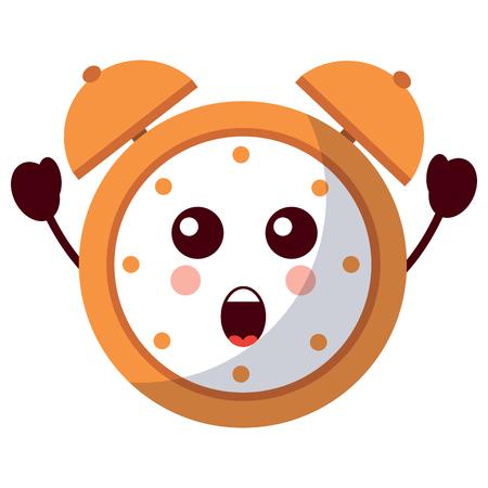 kawaii cartoon clock alarm character vector illustration Иллюстрация
