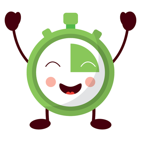 chronometer speed timer cartoon character vector illustration
