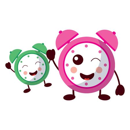 cartoon two clock alarm time vector illustration