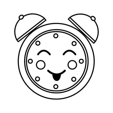 cartoon clock alarm character vector illustration outline image Illustration