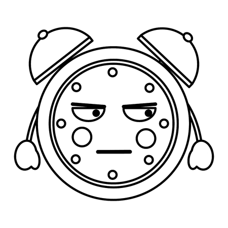 cartoon angry clock alarm character vector illustration outline image