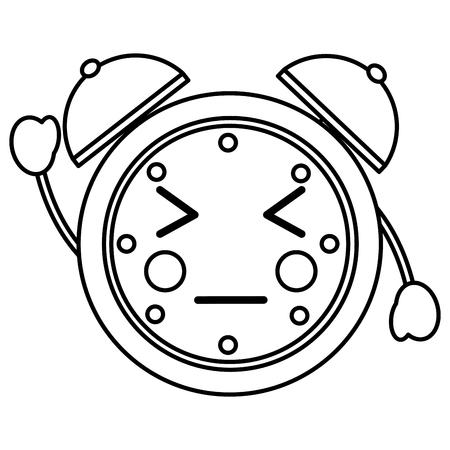 cartoon clock alarm character vector illustration outline image Иллюстрация