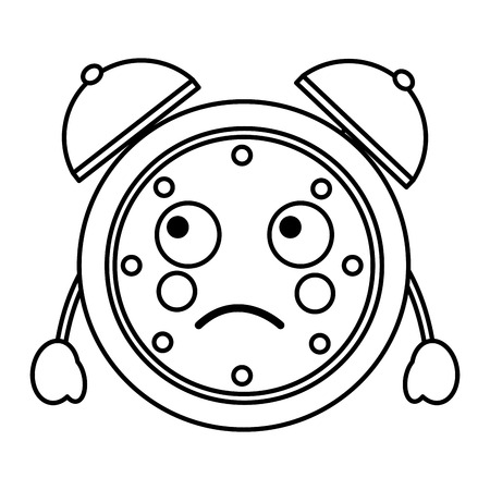cartoon clock alarm character vector illustration outline image Illustration