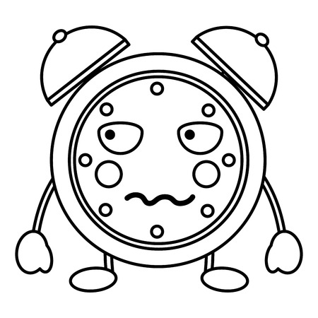 cartoon clock alarm character vector illustration outline image Фото со стока - 93985207