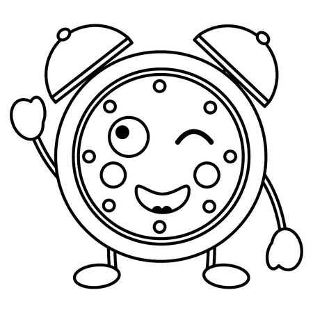 cartoon wink clock alarm character vector illustration outline image