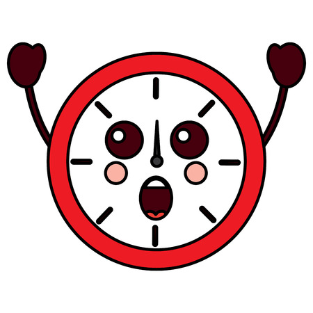 round clock time cartoon character vector illustration outline design