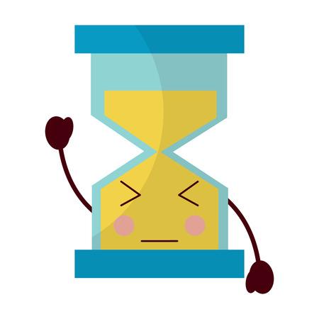 Hourglass time close eyes kawaii character vector illustration. Illustration
