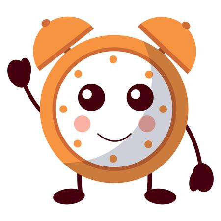 cartoon clock alarm character vector illustration Иллюстрация