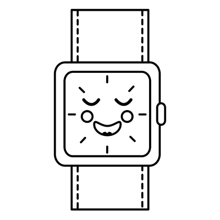 wrist watch bracelet square cartoon vector illustration outline image