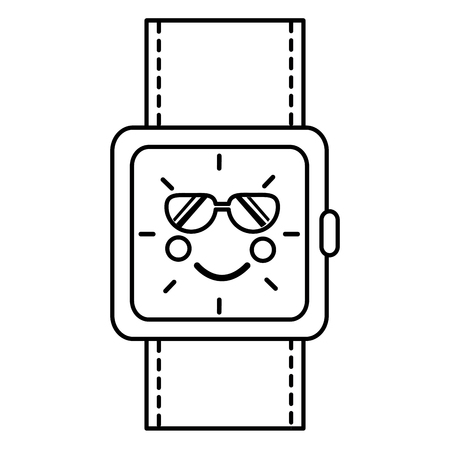 wrist watch bracelet square cartoon vector illustration outline image