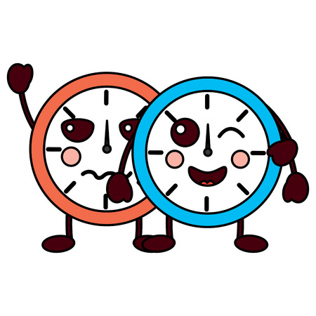 two clock character cartoon style vector illustration