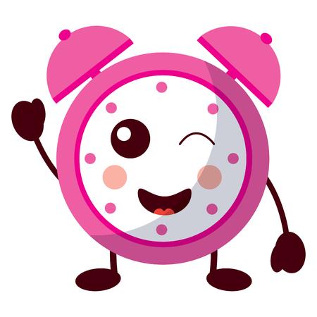 cartoon wink clock alarm character vector illustration Иллюстрация