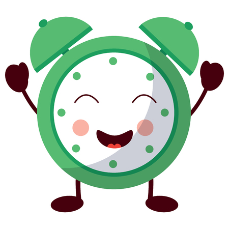 cartoon clock alarm character vector illustration
