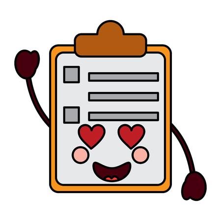 paper love clipboard character cartoon vector illustration