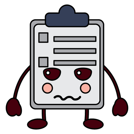 paper sad clipboard character cartoon vector illustration Çizim