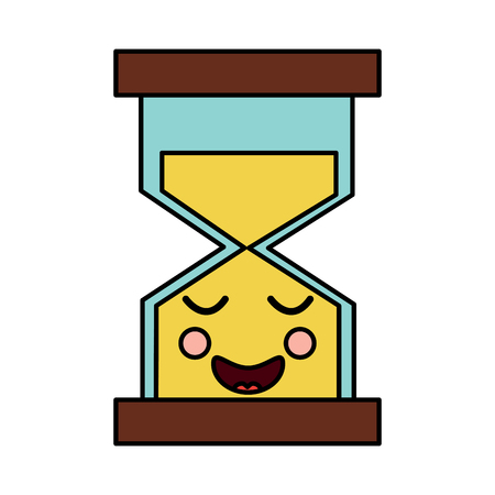 hourglass time happy character vector illustration