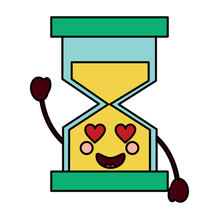 hourglass time love character vector illustration