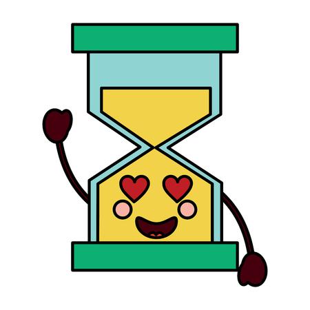 zandloper tijd liefde karakter vectorillustratie Stock Illustratie