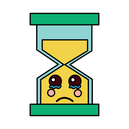 hourglass time cry character vector illustration