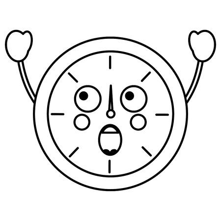 Een verrast ontwerp van de het pictogramafbeelding van klokkawaii Stock Illustratie