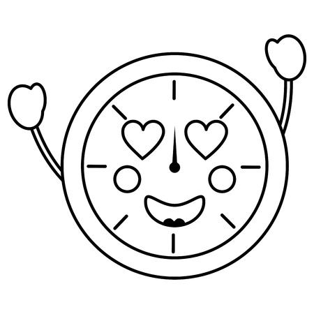 A clock heart eyes kawaii icon image vector illustration design Illustration