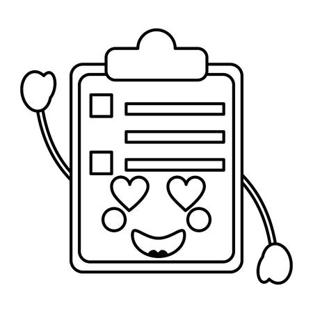 Clipboard heart eyes kawaii icon