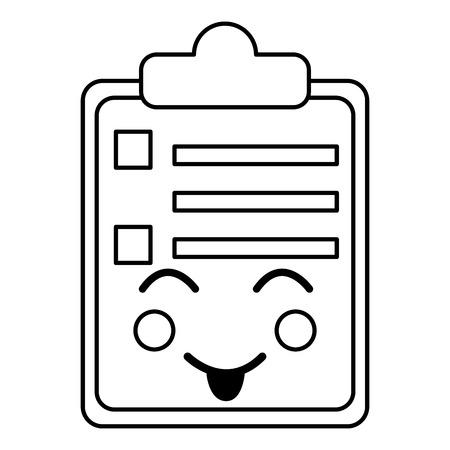gelukkig klembord kawaii pictogram afbeelding vector illustratie ontwerp