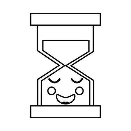 행복한 모래 시계 가와이 아이콘 이미지 벡터 ilustration 디자인