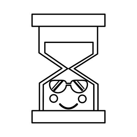 선글라스와 모래 시계 가와이 아이콘 이미지 벡터 ilustration 디자인 일러스트
