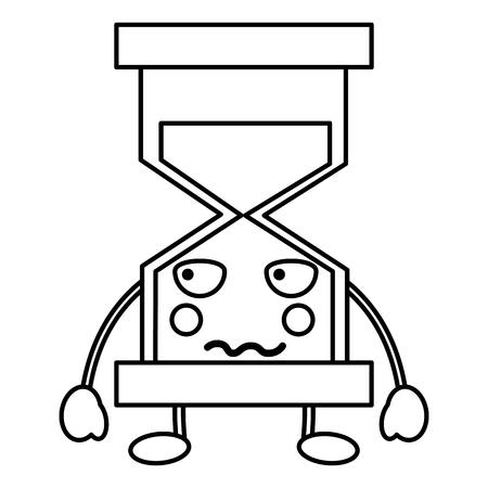 Angry hourglass kawaii icon image Illustration