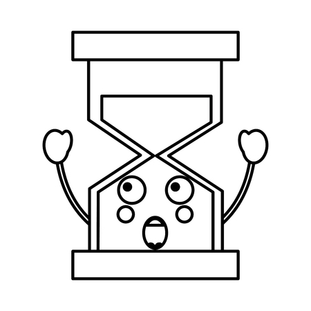 Surprised hourglass kawaii icon image