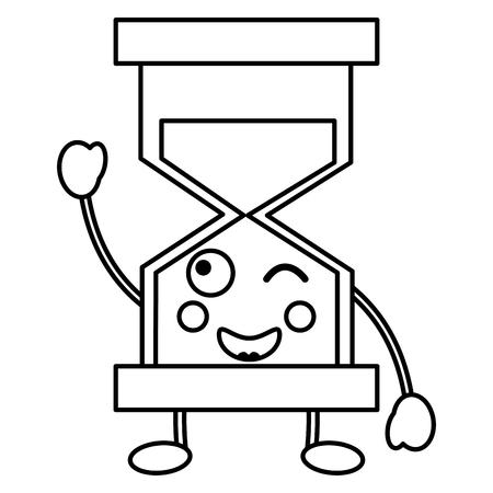 행복 한 모래 시계 kawaii 아이콘 이미지 벡터 ilustration 디자인 일러스트