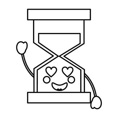 Een zandloper hart ogen kawaii pictogram afbeelding vector iilustration ontwerp
