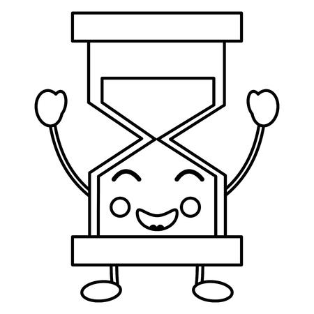 A happy hourglass kawaii icon image vector iilustration design Illustration