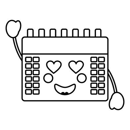 Calendar heart eyes kawaii icon image Illustration