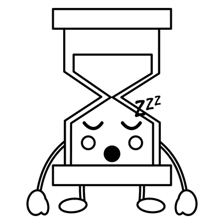 zandloper slapende kawaii pictogram afbeelding vector iilustration ontwerp