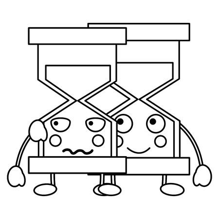 모래 시계 가와이 아이콘 이미지 벡터 ilustration 디자인