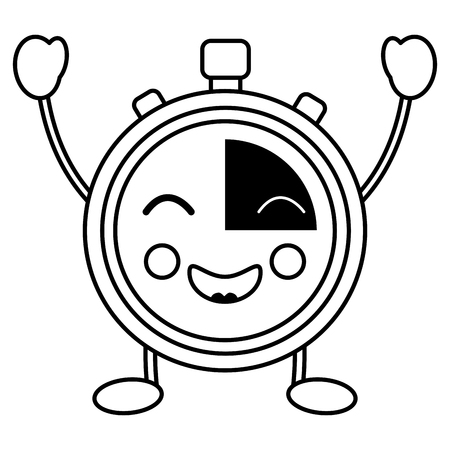 happy chronometer kawaii icon image vector iilustration design Illustration