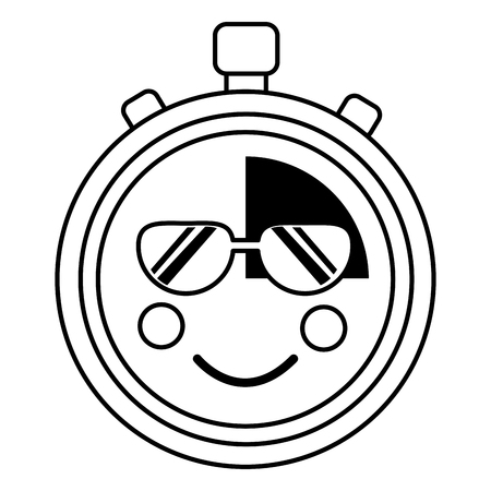 chronometer with sunglasses  icon image vector iilustration design