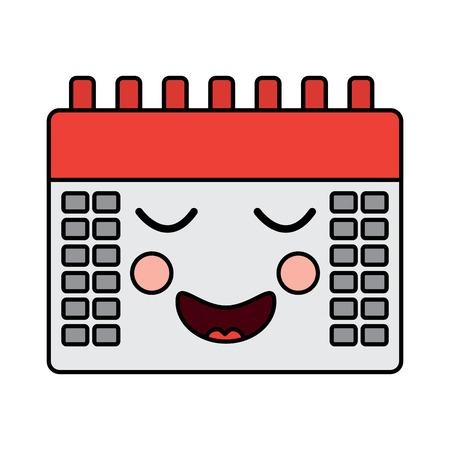 happy calendar kawaii icon image vector illustration design