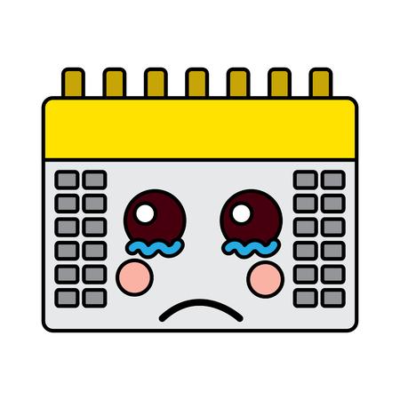 Triest kalender kawaii pictogramafbeelding