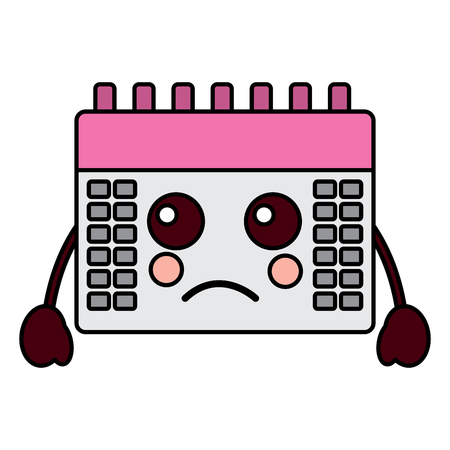 sad calendar kawaii icon image vector illustration design
