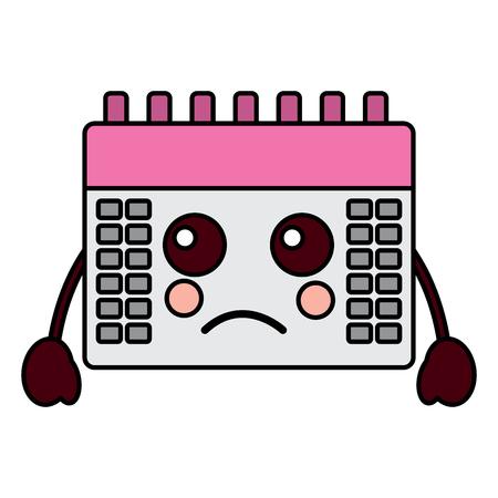 sad calendar kawaii icon image vector illustration design