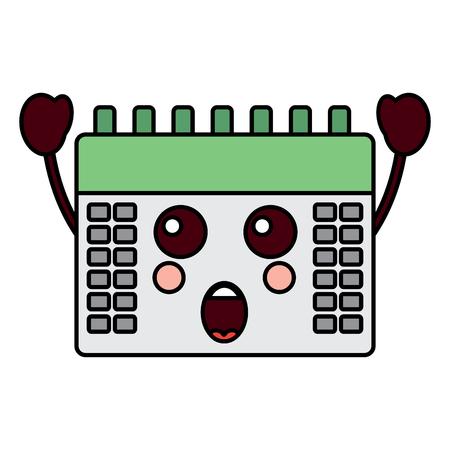 surprised calendar kawaii icon image vector illustration design Illustration