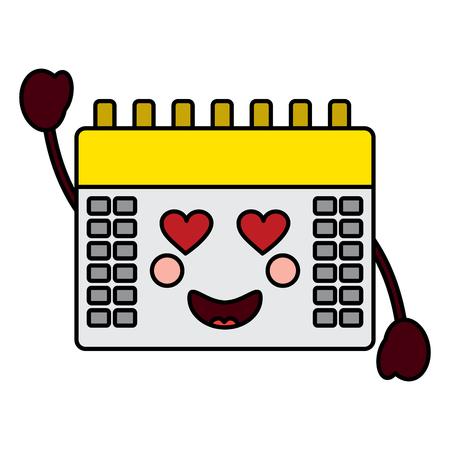 Kalender met hart ogen kawaii pictogramafbeelding