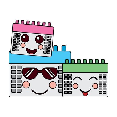 calendars kawaii icon image vector illustration design