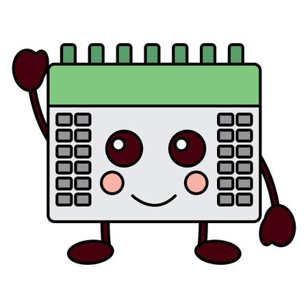 gelukkig kalender kawaii pictogram afbeelding vector illustratie ontwerp