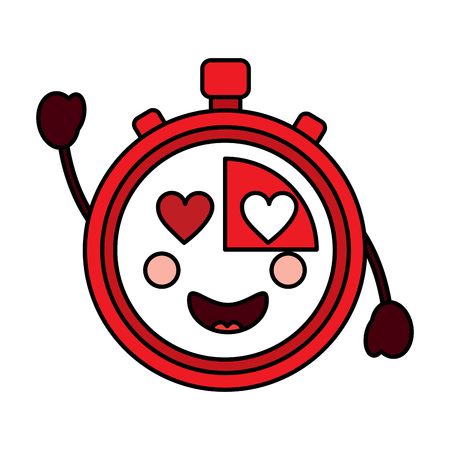 Chronometer met hart ogen kawaii pictogramafbeelding