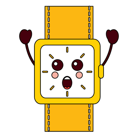 surprised watch kawaii icon image vector illustration design